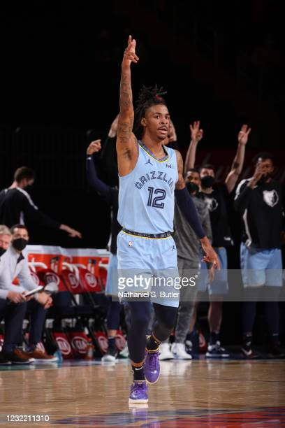 Ja Morant of the Memphis Grizzlies reacts to a play during the game against the New York Knicks on April 9, 2021 at Madison Square Garden in New York...