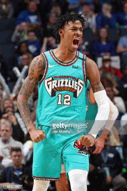 Ja Morant of the Memphis Grizzlies reacts to play against the Golden State Warriors on January 12 2020 at FedExForum in Memphis Tennessee NOTE TO...