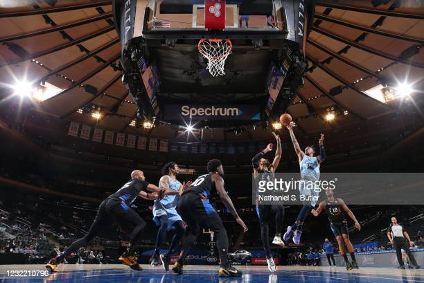 Ja Morant of the Memphis Grizzlies shoots the ball during the game against the New York Knicks on April 9, 2021 at Madison Square Garden in New York...