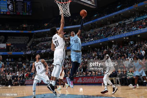 Ja Morant of the Memphis Grizzlies shoots the shot to tie the game against the Brooklyn Nets on October 27 2019 at FedExForum in Memphis Tennessee...