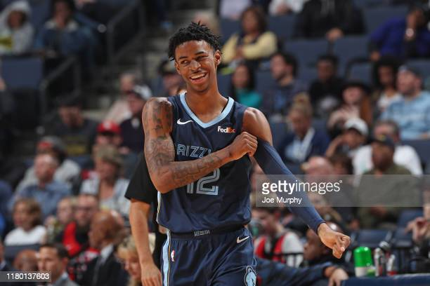 Ja Morant of the Memphis Grizzlies smiles during the game against the Houston Rockets on November 4, 2019 at FedExForum in Memphis, Tennessee. NOTE...