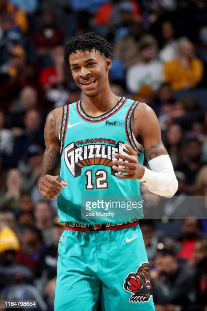 Ja Morant of the Memphis Grizzlies smiles during the game against the Los Angeles Lakers during a game on November 23 2019 at FedEx Forum in Memphis...