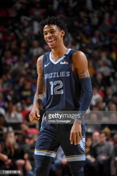 Ja Morant of the Memphis Grizzlies smiles during the game against the Detroit Pistons on January 24, 2020 at Little Caesars Arena in Detroit,...