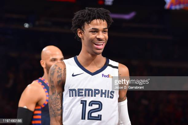 Ja Morant of the Memphis Grizzlies smiles during the game against the New York Knicks on January 29, 2020 at Madison Square Garden in New York City,...
