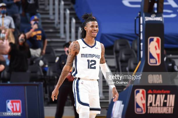 Ja Morant of the Memphis Grizzlies smiles during the game against the Golden State Warriors during the 2021 Play-In Tournament on May 21, 2021 at...