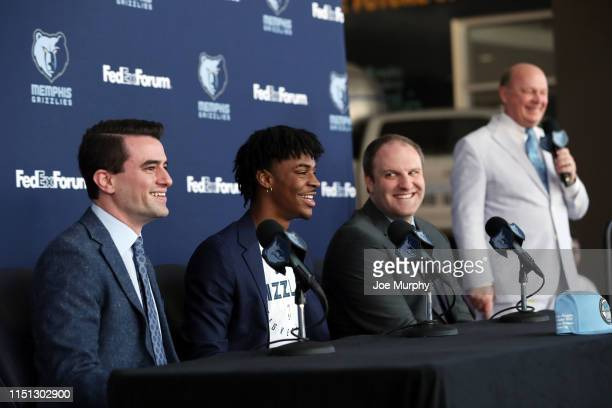 Ja Morant of the Memphis Grizzlies speaks at a press conference on June 21 2019 at FedExForum in Memphis Tennessee NOTE TO USER User expressly...