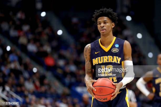 Ja Morant of the Murray State Racers attempts a free throw against the Florida State Seminoles in the second half during the second round of the 2019...
