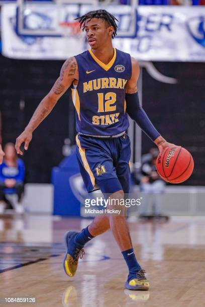 Ja Morant of the Murray State Racers brings the ball up court during the game against the Eastern Illinois Panthers at Lantz Arena on January 17 2019...