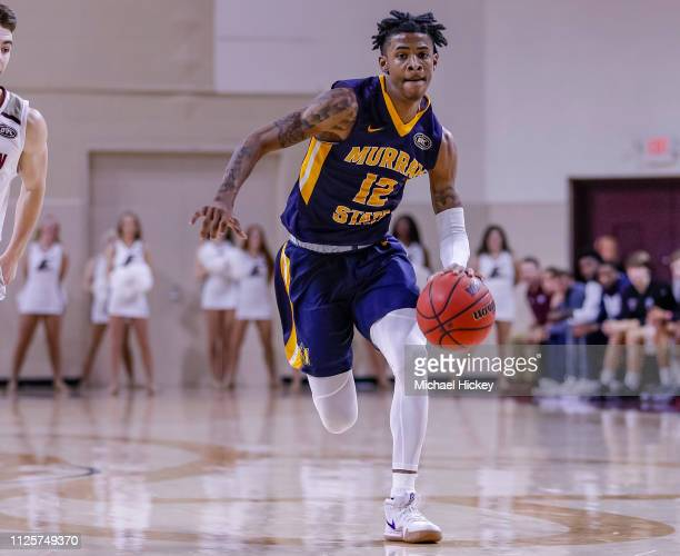 Ja Morant of the Murray State Racers brings the ball up court during the game against the Eastern Kentucky Colonels at CFSB Center on February 16...