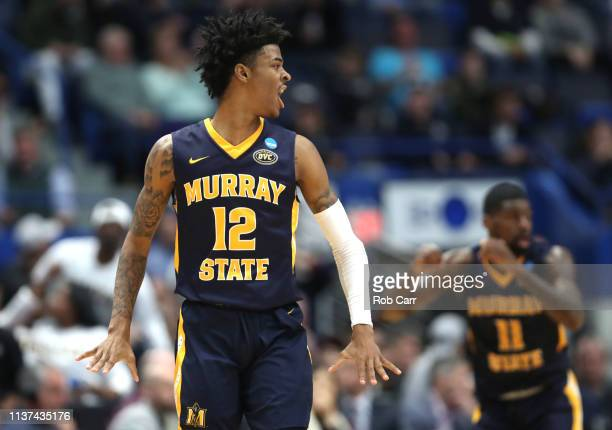 Ja Morant of the Murray State Racers celebrates after making an assist during the second half of the first round game of the 2019 NCAA Men's...