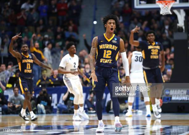 Ja Morant of the Murray State Racers celebrates scoring at the end of the first half during the first round game of the 2019 NCAA Men's Basketball...