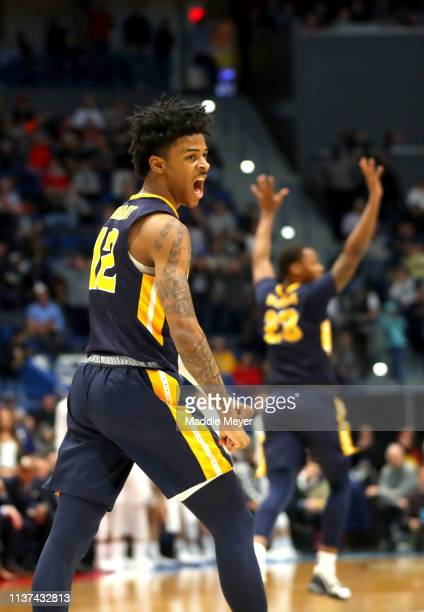 Ja Morant of the Murray State Racers celebrates while playing in the second half of the first round game of the 2019 NCAA Men's Basketball Tournament...