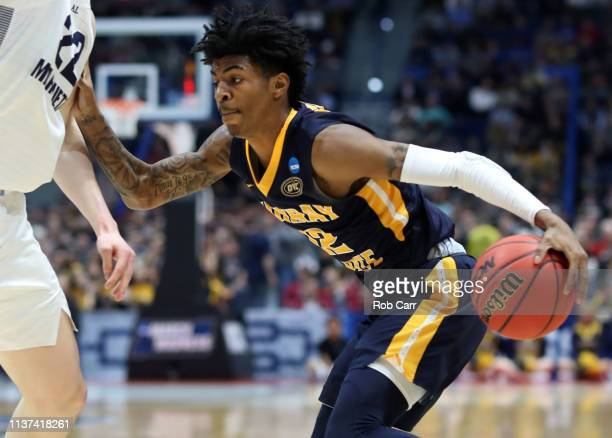 Ja Morant of the Murray State Racers drives against the Marquette Golden Eagles during their first round game of the 2019 NCAA Men's Basketball...