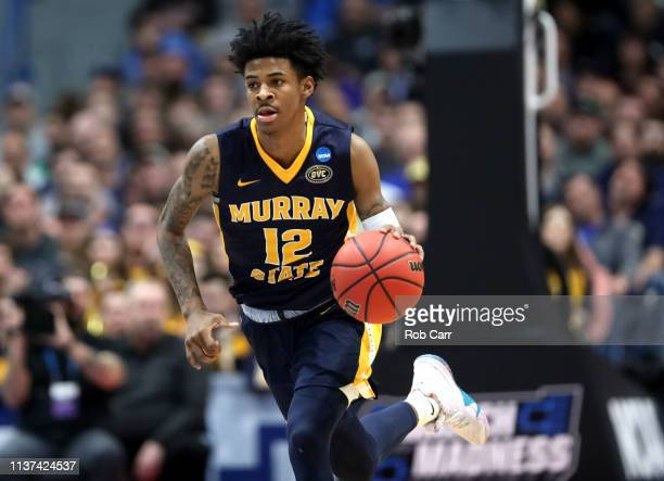 Ja Morant of the Murray State Racers drives the ball down court during the first round game of the 2019 NCAA Men's Basketball Tournament against the...