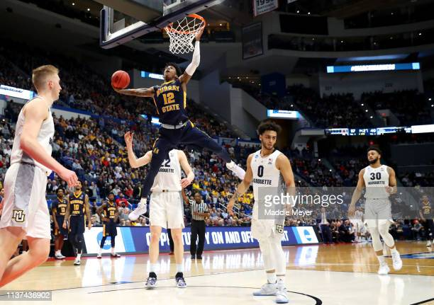 Ja Morant of the Murray State Racers dunks the ball during the second half of the first round game of the 2019 NCAA Men's Basketball Tournament...