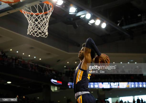 Ja Morant of the Murray State Racers goes up for a dunk against the Auburn Tigers at Auburn Arena on December 22 2018 in Auburn Alabama