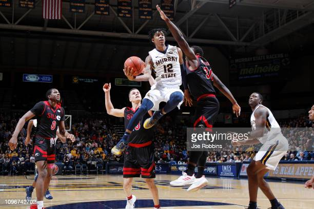 Ja Morant of the Murray State Racers in action against the SIUEdwardsville Cougars in the first half of the game at CFSB Center on February 9 2019 in...