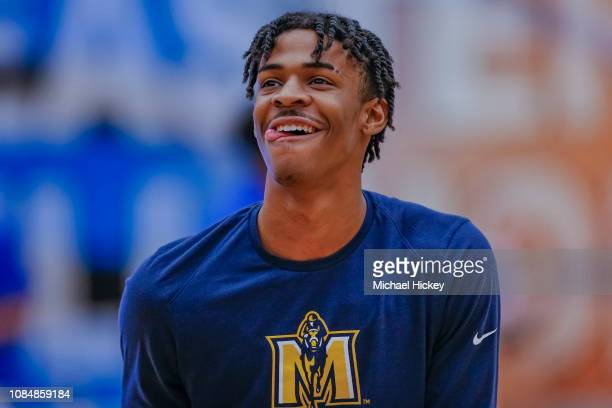 Ja Morant of the Murray State Racers is seen before the game against the Eastern Illinois Panthers at Lantz Arena on January 17 2019 in Charleston...
