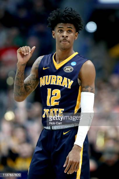 Ja Morant of the Murray State Racers reacts against the Florida State Seminoles in the first half during the second round of the 2019 NCAA Men's...