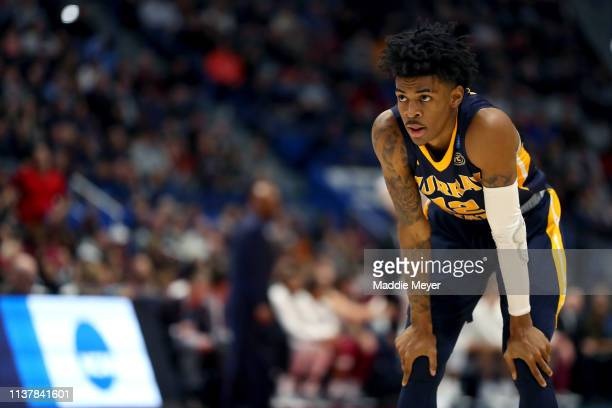 Ja Morant of the Murray State Racers reacts against the Florida State Seminoles in the second half during the second round of the 2019 NCAA Men's...