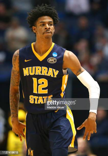Ja Morant of the Murray State Racers reacts against the Marquette Golden Eagles during their first round game of the 2019 NCAA Men's Basketball...
