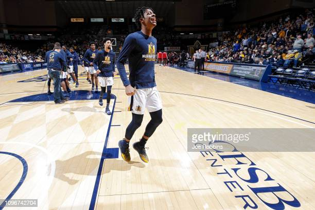 Ja Morant of the Murray State Racers reacts before the start of the game against the SIUEdwardsville Cougars at CFSB Center on February 9 2019 in...