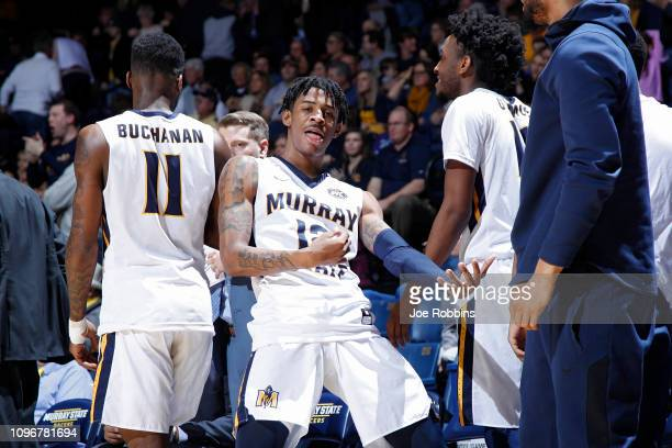 Ja Morant of the Murray State Racers reacts in the second half of the game against the SIUEdwardsville Cougars at CFSB Center on February 9 2019 in...