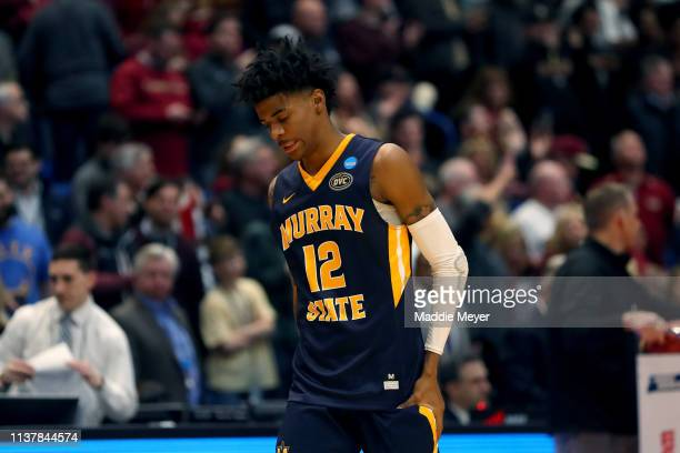 Ja Morant of the Murray State Racers reacts late in the game of his teams loss to the Florida State Seminoles during the second round of the 2019...