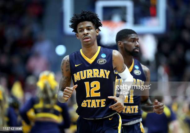 Ja Morant of the Murray State Racers runs on the court while playing in the second half of the first round game of the 2019 NCAA Men's Basketball...
