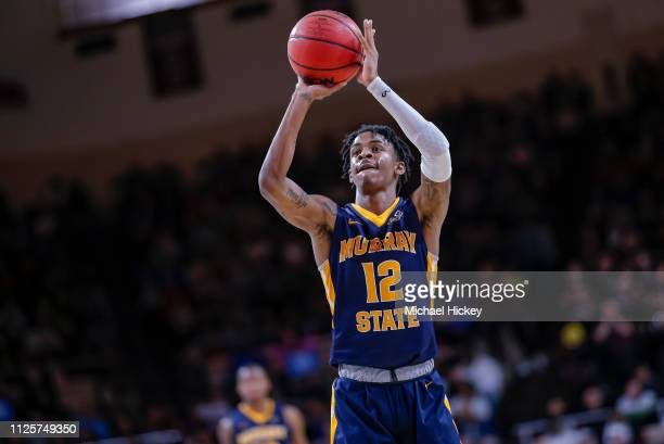 Ja Morant of the Murray State Racers shoots a free throw during the game against the Eastern Kentucky Colonels at CFSB Center on February 16 2019 in...