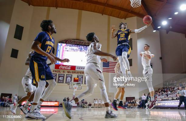 Ja Morant of the Murray State Racers shoots the ball during the game against the Eastern Kentucky Colonels at CFSB Center on February 16 2019 in...