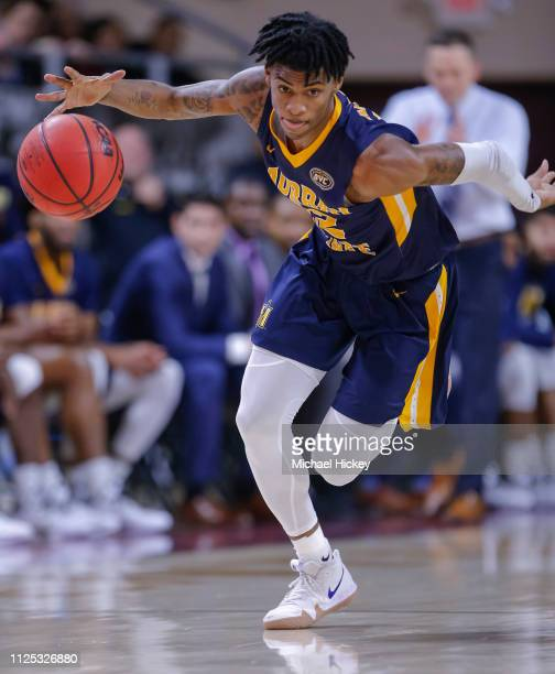 Ja Morant of the Murray State Racers takes off on a fast break during the game against the Eastern Kentucky Colonels at CFSB Center on February 16...
