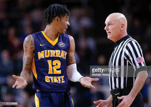 Ja Morant of the Murray State Racers talks to a referee during the game against the Eastern Kentucky Colonels at CFSB Center on February 16 2019 in...