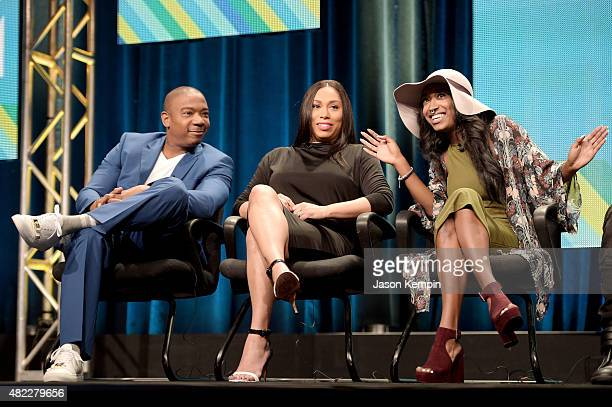 Ja Rule Aisha Atkins and Brittney Atkins speak onstage during the 'Follow The Rules' panel at the Viacom TCA Presentation at The Beverly Hilton Hotel...