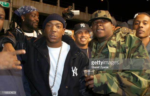 Ja Rule and Jadakiss during Ja Rule Video Shoot in New York at Streets of Harlem in New York City New York United States