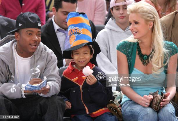 Ja Rule with son and Paris Hilton during Celebrities Attend Miami Heat vs New York Knicks Game February 9 2005 at Madison Square Garden in New York...