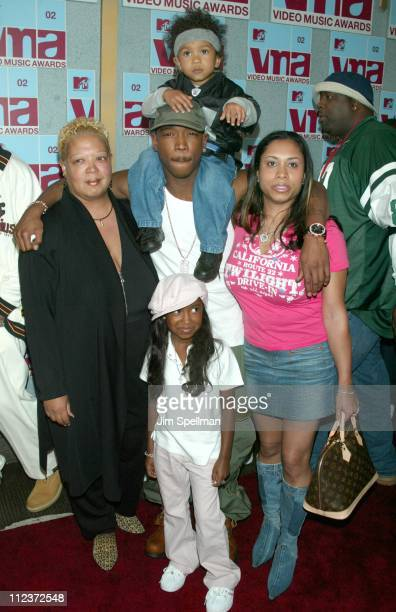Ja Rule with wife and kids during 2002 MTV Video Music Awards Arrivals at Radio City Music Hall in New York City New York United States