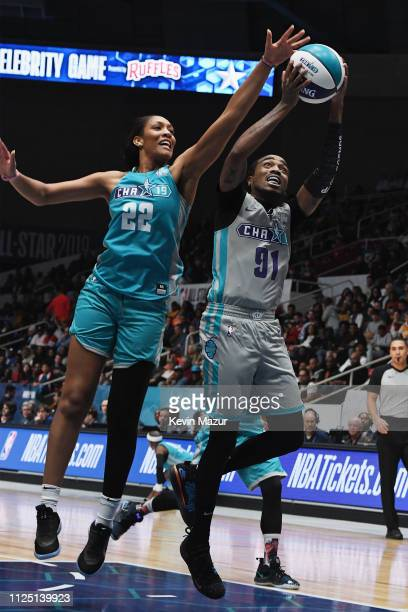 A'ja Wilson defends Quavo during the 2019 NBA AllStar Celebrity Game at Bojangles Coliseum on February 16 2019 in Charlotte North Carolina