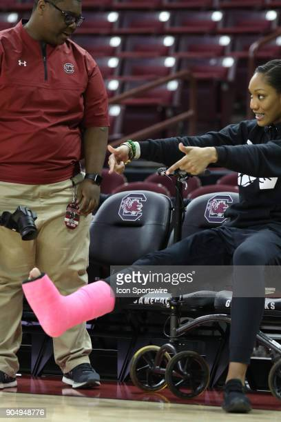 A'ja Wilson forward The University of South Carolina points to her foot in a cast after an injury in the previous game during warmups before the game...
