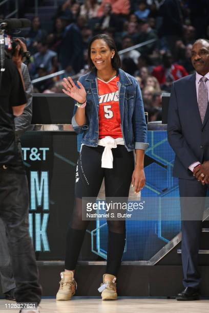 A'ja Wilson is introduced as a judge during the 2019 ATT Slam Dunk Contest as part of the State Farm AllStar Saturday Night on February 16 2019 at...