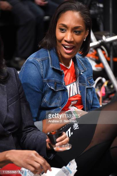 A'ja Wilson looks on during the 2019 Mtn Dew 3Point Contest as part of the State Farm AllStar Saturday Night on February 16 2019 at the Spectrum...