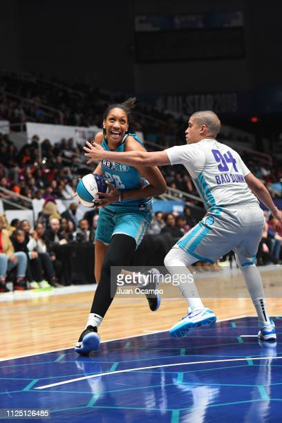 A'ja Wilson of Team Home drives to the basket during the 2019 NBA AllStar Celebrity Game on February 15 2019 at Bojangles Coliseum in Charlotte North...