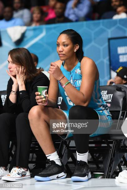 A'ja Wilson of Team Home looks from the bench during the 2019 NBA AllStar Celebrity Game on February 15 2019 at Bojangles Coliseum in Charlotte North...