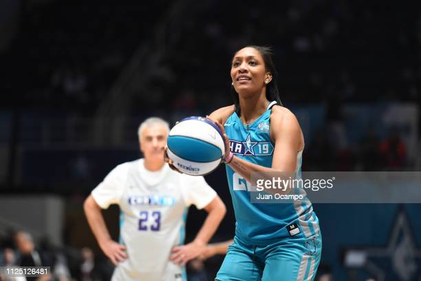 A'ja Wilson of Team Home shoots a foul shot during the 2019 NBA AllStar Celebrity Game on February 15 2019 at Bojangles Coliseum in Charlotte North...