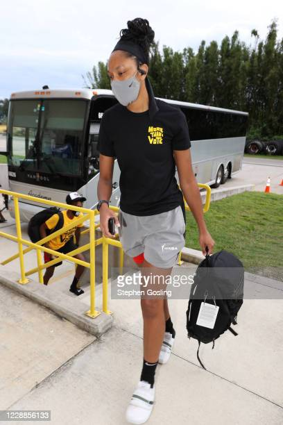Ja Wilson of the Las Vegas Aces arrives to the arena before Game One of the WNBA Finals on October 2, 2020 at Feld Entertainment Center in Palmetto,...