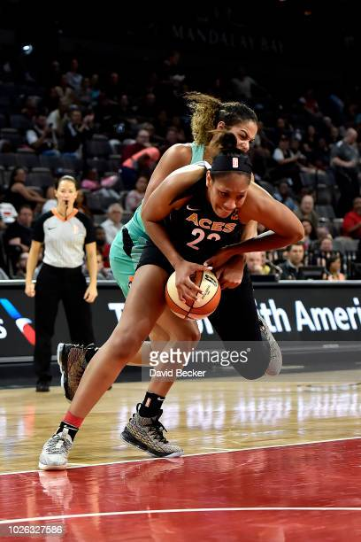 A'ja Wilson of the Las Vegas Aces goes for the rebound against the New York Liberty on August 15 2018 at the Allstate Arena in Chicago Illinois NOTE...