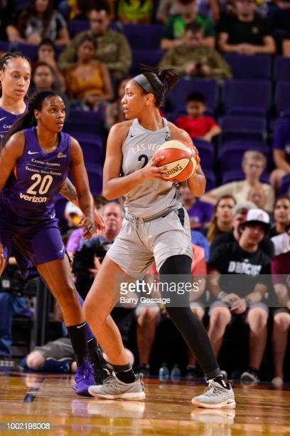 A'ja Wilson of the Las Vegas Aces handles the ball against the Phoenix Mercury on July 19 2018 at Talking Stick Resort Arena in Phoenix Arizona NOTE...