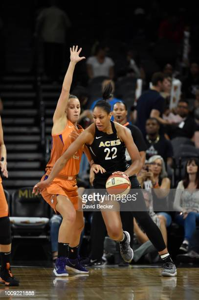 A'ja Wilson of the Las Vegas Aces handles the ball against the Phoenix Mercury on August 1 2018 at the Mandalay Bay Events Center in Las Vegas Nevada...
