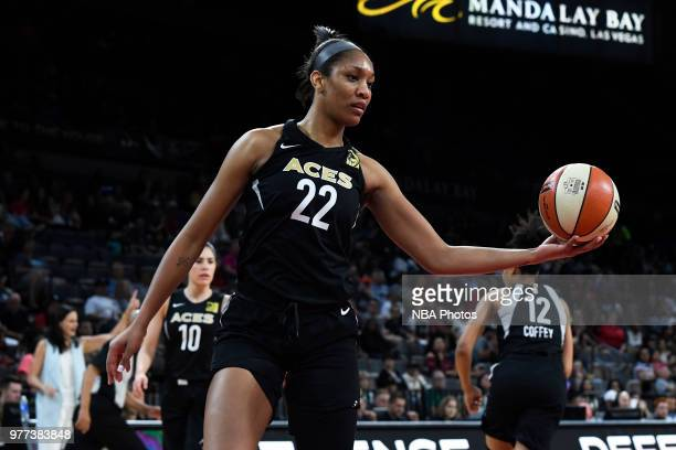 A'ja Wilson of the Las Vegas Aces handles the ball against the Phoenix Mercury on June 17 2018 at the Mandalay Bay Events Center in Las Vegas Nevada...