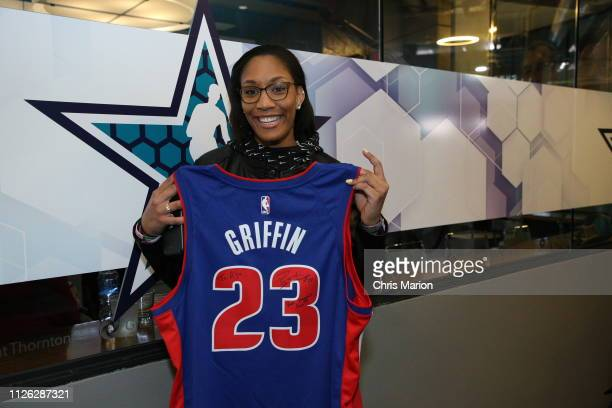 A'ja Wilson of the Las Vegas Aces holds her signed jersey from Blake Griffin of the Detroit Pistons during the 2019 NBA AllStar Game on February 17...